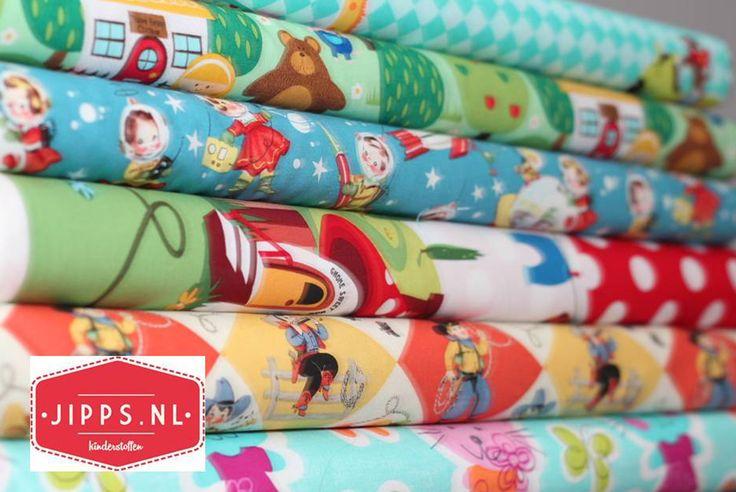 Katoenen stoffen met leuke hippe en retro printjes, www.jipps.nl #kinderstoffen #online_stoffen #stoffenwinkel