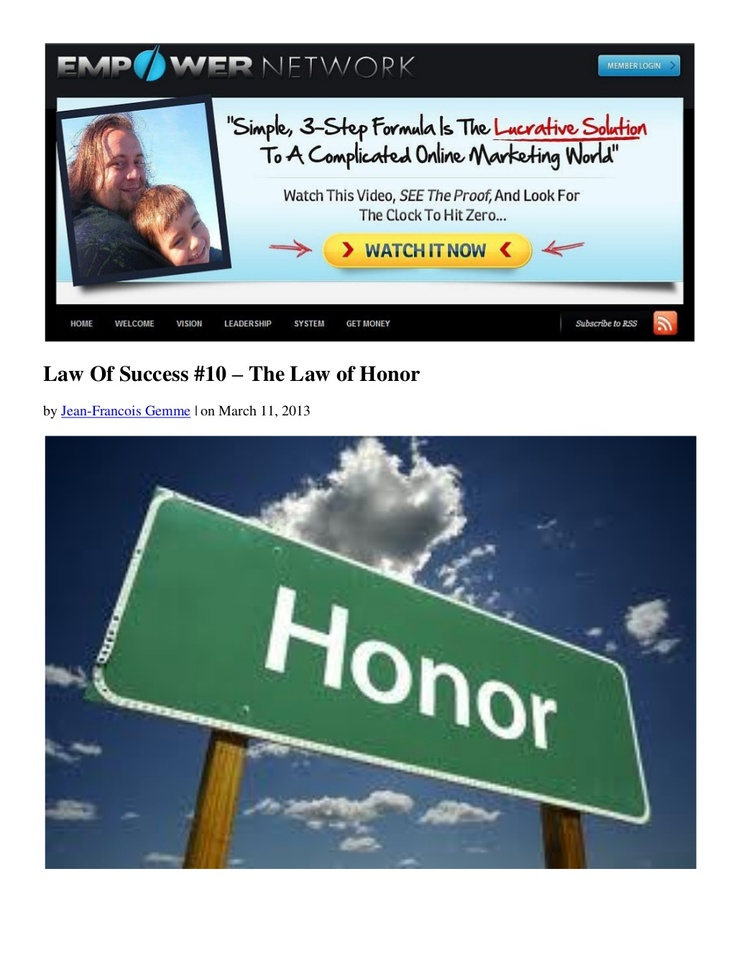 law-of-success-10-the-law-of-honor-by-dani-johnson by Jean-Francois Gemme via Slideshare
