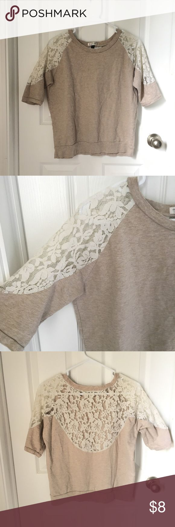 Tan Lace Back Half Sleeve Shirt Tan lace back shirt. This shirt is so pretty and girly. I love the tan color with the lace. I also (I also pictured this shirt with the shorts w/ crochet/lace and the boots) Sound & Matter Tops