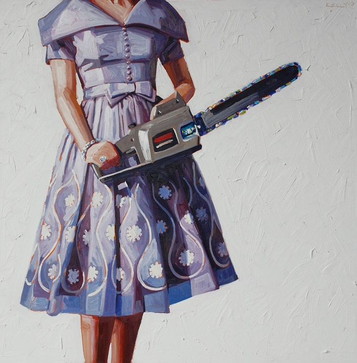 """Artist Kelly Reemtsen - Yes, this belongs in """"My Style"""".  A Fifties housewife with a chainsaw pretty much sums me up to a T."""