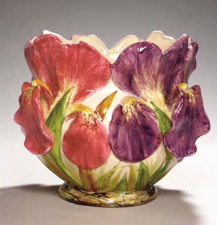A french majolica iris form jardiniere delphin massier - Point p vallauris ...