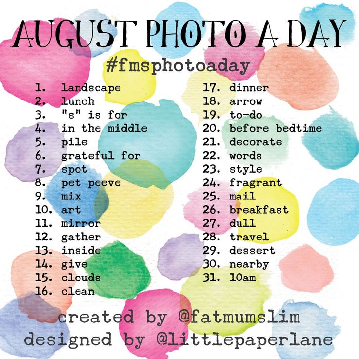 August Photo A Day 2014: The challenge list