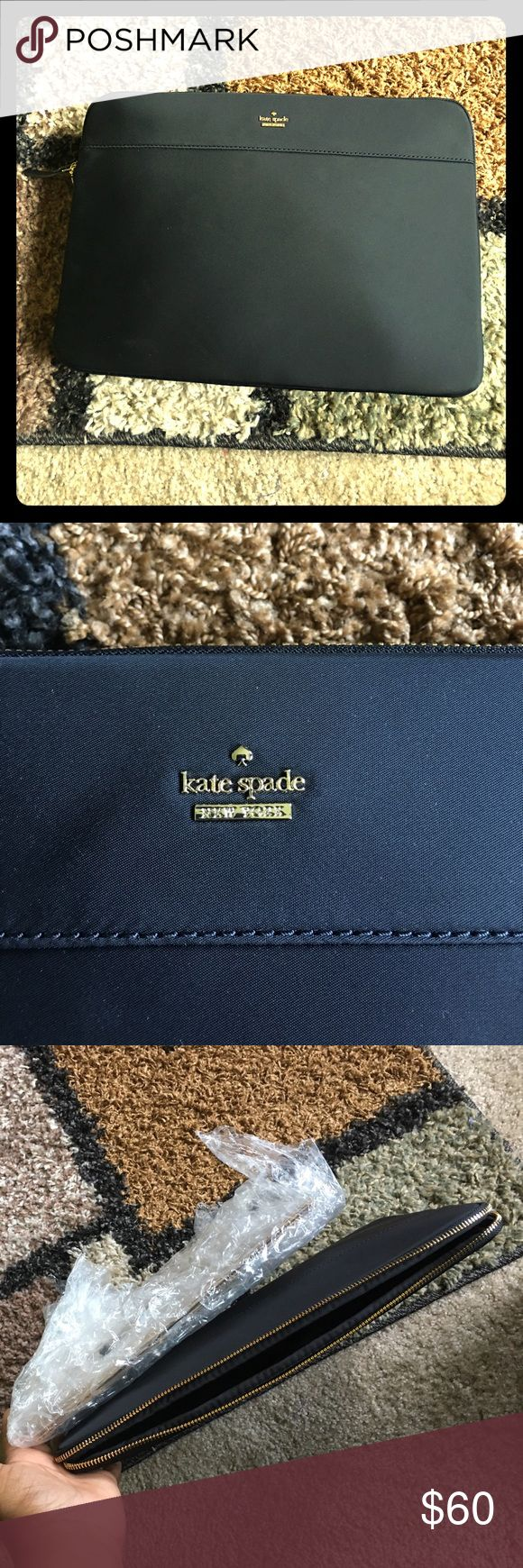 NWOT Kate Spade tablet or small laptop sleeve Never used black tablet or small laptop sleeve.  Zips open/close.  The size of the sleeve is 13 1/2 by 9 3/4 by 1 1/4. kate spade Accessories Tablet Cases