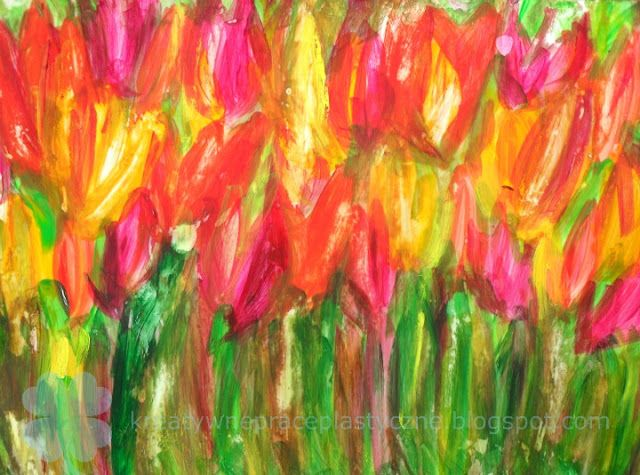 Art project for kids: finger painting on dry glue.