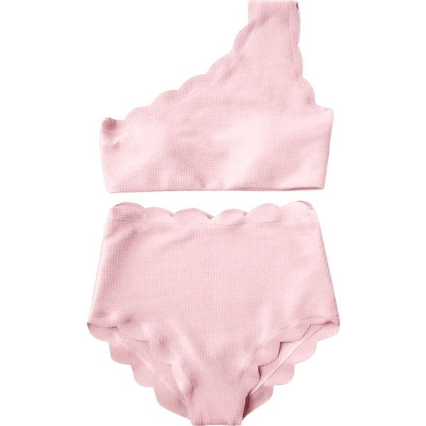 High Rise Scalloped One Shoulder Bikini Pink ($14) ❤ liked on Polyvore featuring intimates, panties, scalloped edge bikini, pink bikini, high-waisted bikinis, one shoulder bikini and pink high waisted bikini