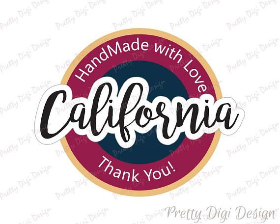 Digital Hand Made with love in California round sticker design, California jpg, png, eps, svg, dxf, California printable logo dsign