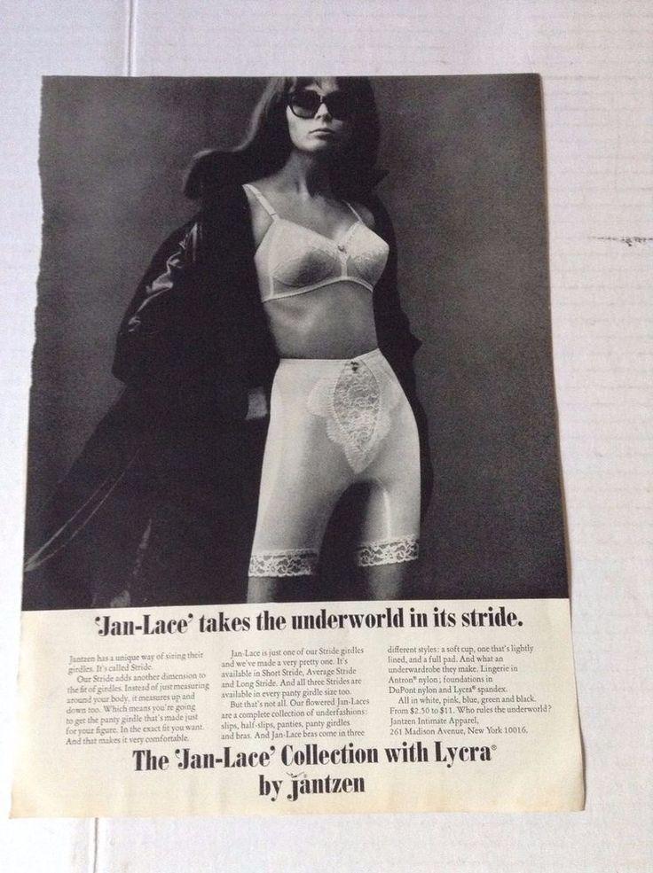 Jantzen Bra Ad Clipping Sexy Brunette in Fur & Sunglasses Girdle vintage #17