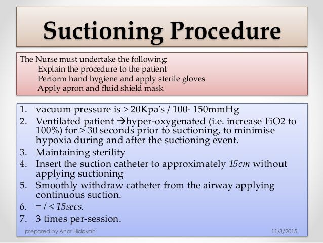 percutaneous-tracheostomy Endotracheal suctioning is a component of bronchial hygiene therapy and mechanical ventilation and involves the mechanical aspiration of pulmonary secretions from a patient with an artificial airway in place. The procedure includes patient preparation, the suctioning event(s), and follow-up care.