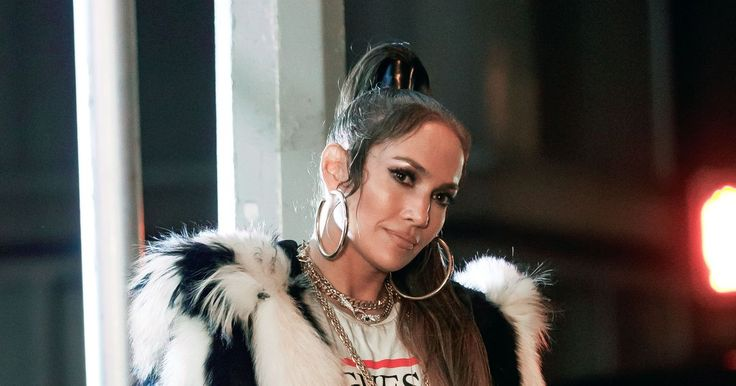 Jennifer Lopez sports some serious bling and oversized fur coat as shes joined by adorable daughter on set of new music video:…