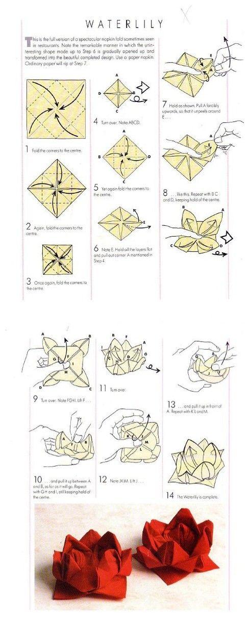 water lily origami     pliage de serviettes