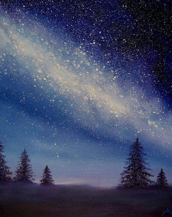 Landscape Painting Of On Canvas Milky Way Oil Painting Night Sky Realism Night Sky Starry Sky Night Landscape Night Sky Painting Canvas Painting Landscape