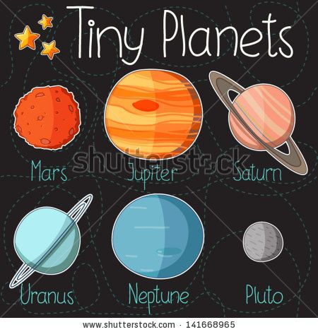 Collection of planet stickers form Mars to Pluto. Cartoon ...