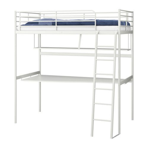 TromsÖ Loft Bed Frame With Desk Top Ikea To Be Attached On The Sides Under Clears Floor E No Legs In Your Way