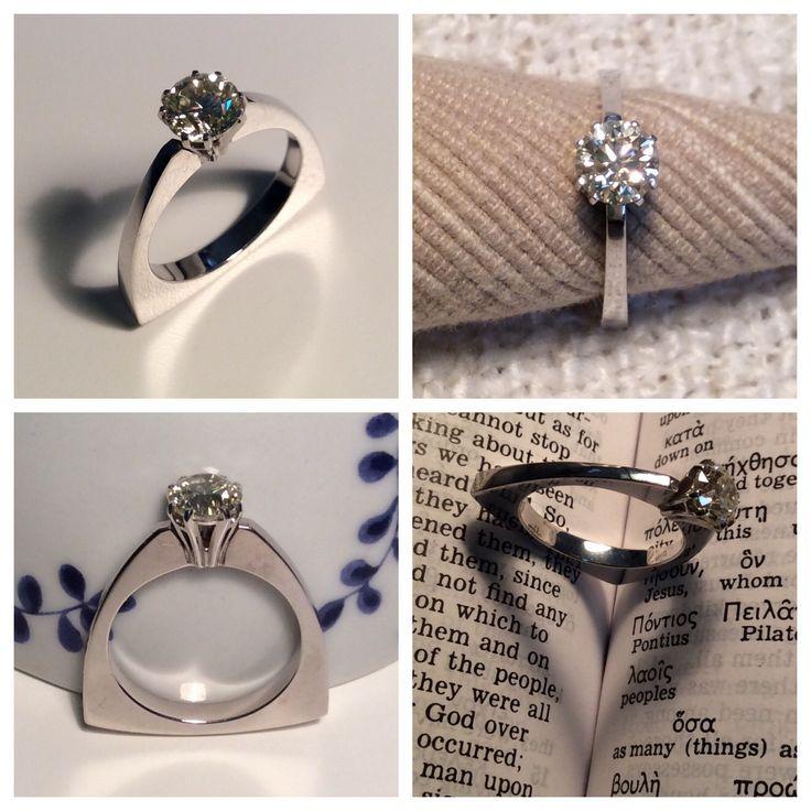 R18K-D1.06 POLARIA Кольцо из белого золото с бриллиантом 1,06 карат | White gold ring with diamond 1.06 ct www.earlpearl.com