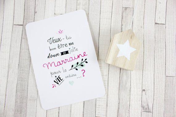 Carte postale - Veux-tu être ma marraine ?