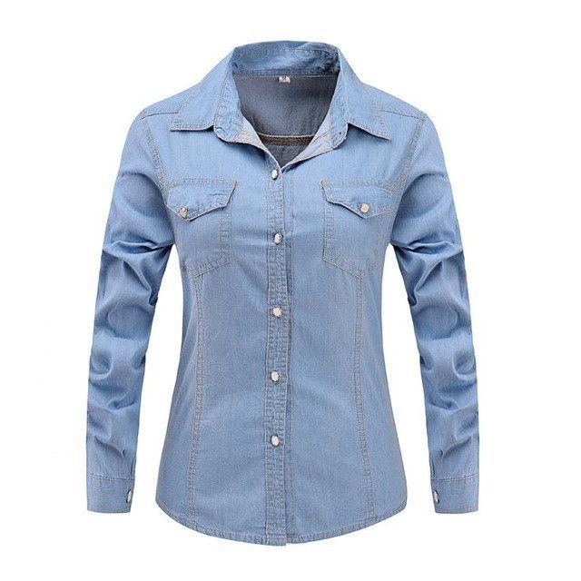 Three Crystal Yz 2017 New Denim Shirt Women Long Sleeve Turn-Down Collar Blouse Snowflake Jeans Female Thin Jean Shirt Fashion