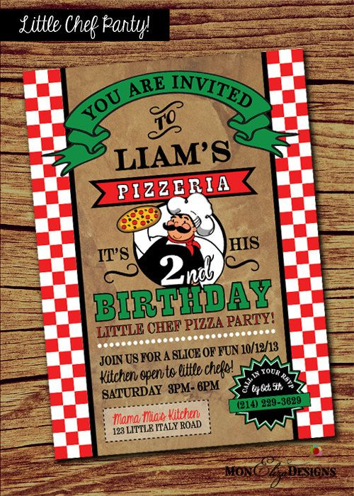 Our Little Chef Pizza Party Invitation by MonElizaDesigns, visit our new online store!