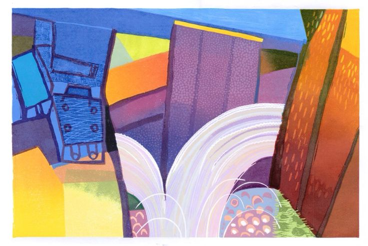 Colourful Lock. Reduction Linocut. © Eric Gaskell 2016