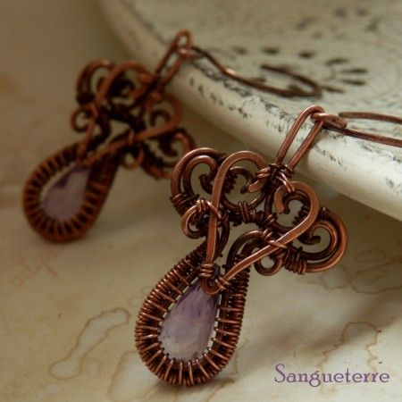 Liliales * november earrings  * amethyste, copper  * wire wrap * wirewrapping * wire artisan * handmade * wire * work * wirewrapped * wired