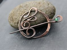Shawl pin, scarf pin, sweater pin, brooch, Art Nouveau  inspired pin, fibula, copper and green aventurine round pin, ornamental, oxidized by Keepandcherish on Etsy