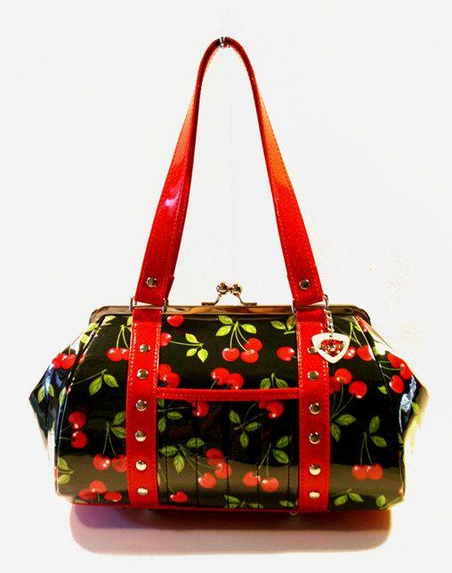 Cherry Handbag Vinyl Trim Kisslock Frame Rockabilly Bag Pin Up Purse - MADE TO ORDER by HOLDFASThandbags on Etsy https://www.etsy.com/listing/194988005/cherry-handbag-vinyl-trim-kisslock-frame