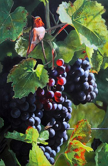 Grapes And Bird By Julia Hargreaves Flower Leaves
