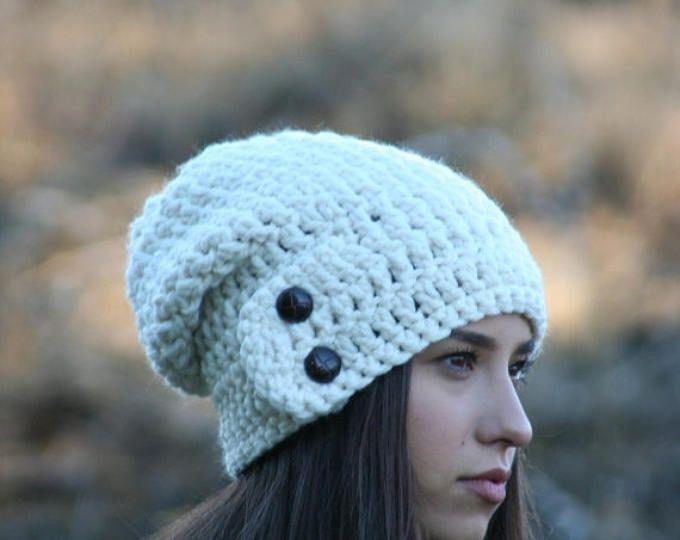 Verano venta Slouchy Beanie sombrero con dos botones de gruesos Crochet invierno gorro pescador DARTMOOR