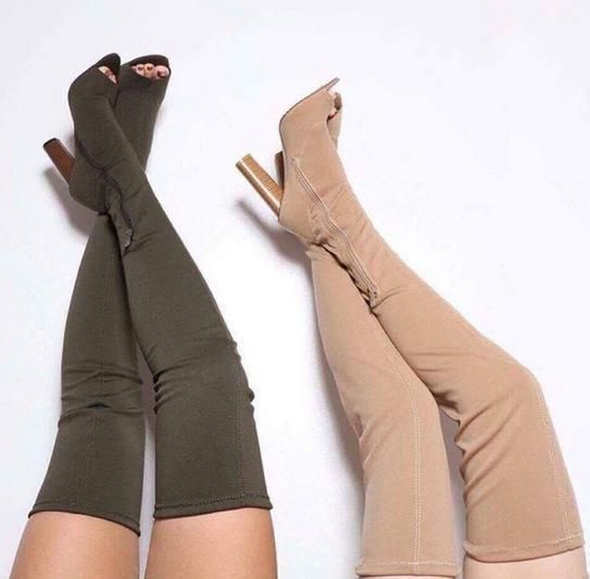 Silk Chunky Heel Peep-toe Overknee High Heel Boots Sandals