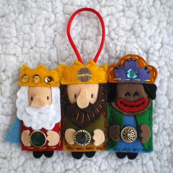 Broches de fieltro de los Reyes Magos