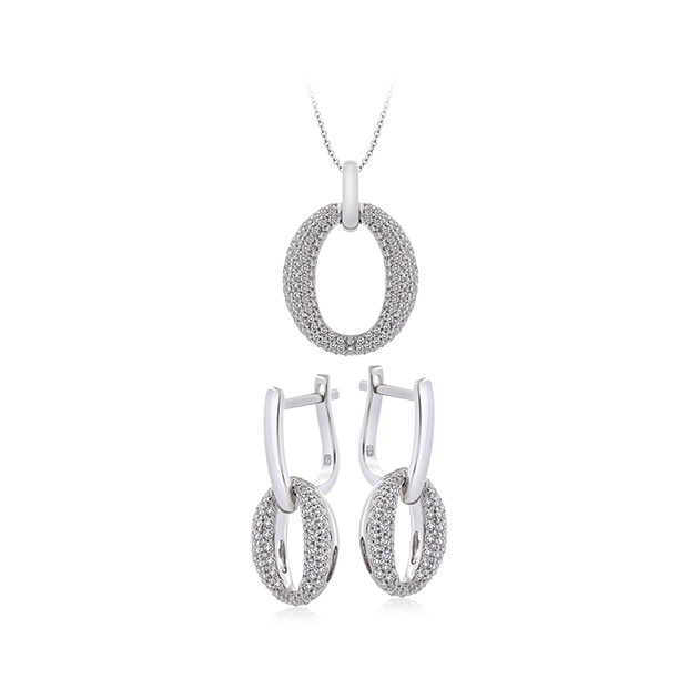 18ct White Gold and Diamond earrings and pendant set