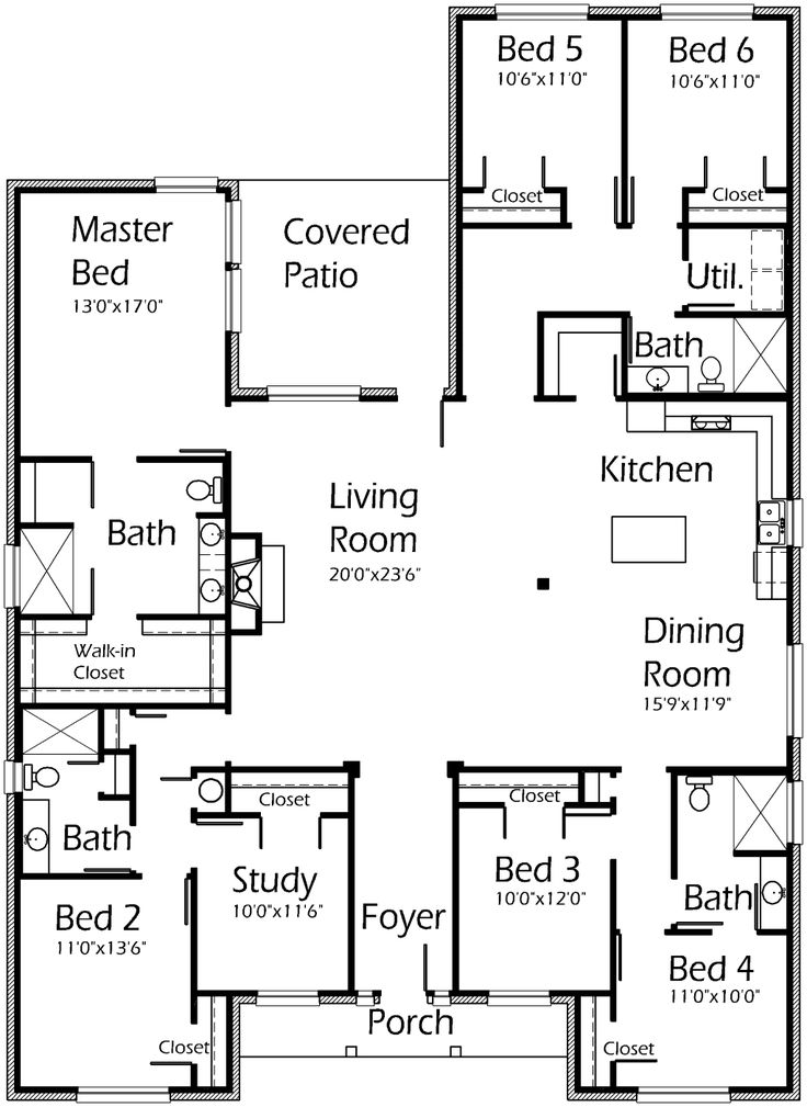 Best 25 one floor house plans ideas on pinterest house for Seven bedroom house plans
