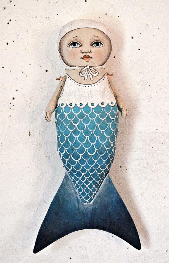 Mermaid Folk Art Doll Cloth Sculpture Hand by cartbeforethehorse