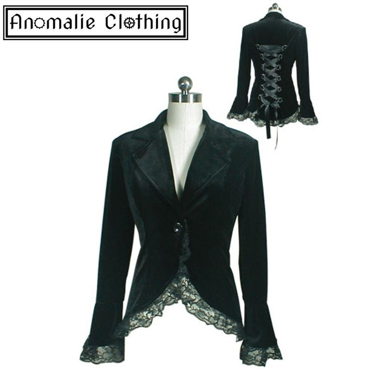 Black Gothic Lace Trim Corset Velvet Jacket - This stunning jacket features:  Luxurious soft velvet fabric in black;Delicate black lace trim along hem and cuffs; Single button front closure; Corset style lacing at back; Flared sleeves; and Full lining.