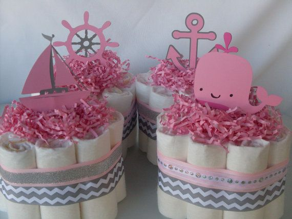 Conjunto de 4 bebé niña pañal náutica Mini tortas babyshower