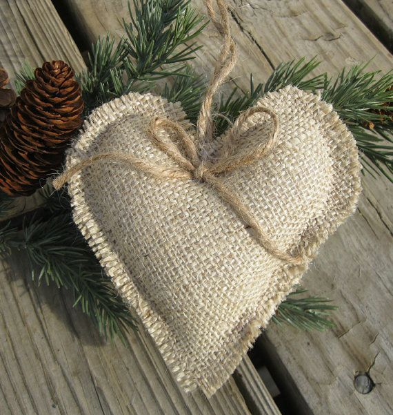 Rustic burlap heart ornaments - set of 6 via Etsy