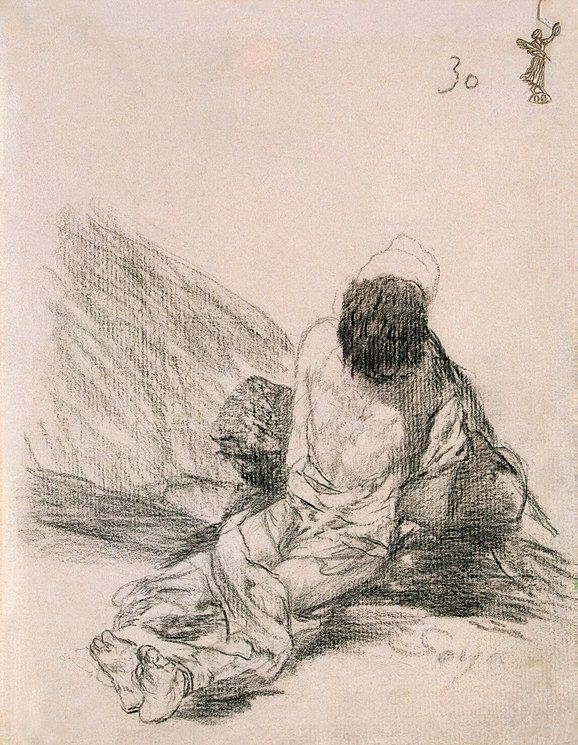 Francisco Goya, Prisoner, 1824-1828. Lithographic crayon on laid paper, with 'GH.I' watermark, 19.2x15 cm.