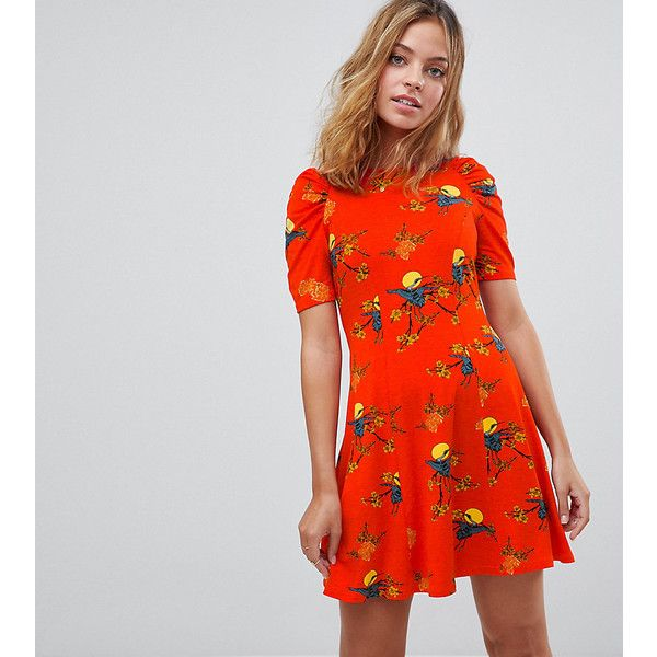 ASOS PETITE Mini Tea Dress with Ruched Shoulders In Bird Print (€29) ❤ liked on Polyvore featuring dresses, multi, petite, tea party dresses, print dress, mini dress, ruching dress and short denim dress
