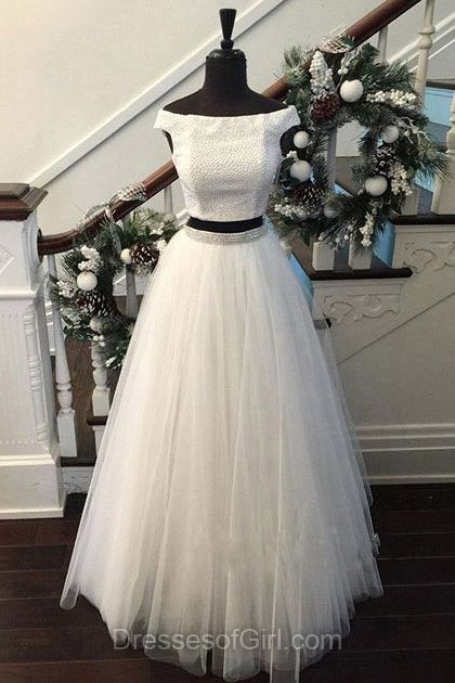 Off the Shoulder Prom Dress, White Prom Dresses, Two Piece Evening Dresses, Tulle Party Dresses, Princess Formal Dresses
