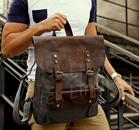 "Men's Backpack - Men's Canvas Leather Backpack in Dark Brown, fits as a 15"" Laptop Bag on Etsy, $62.99"
