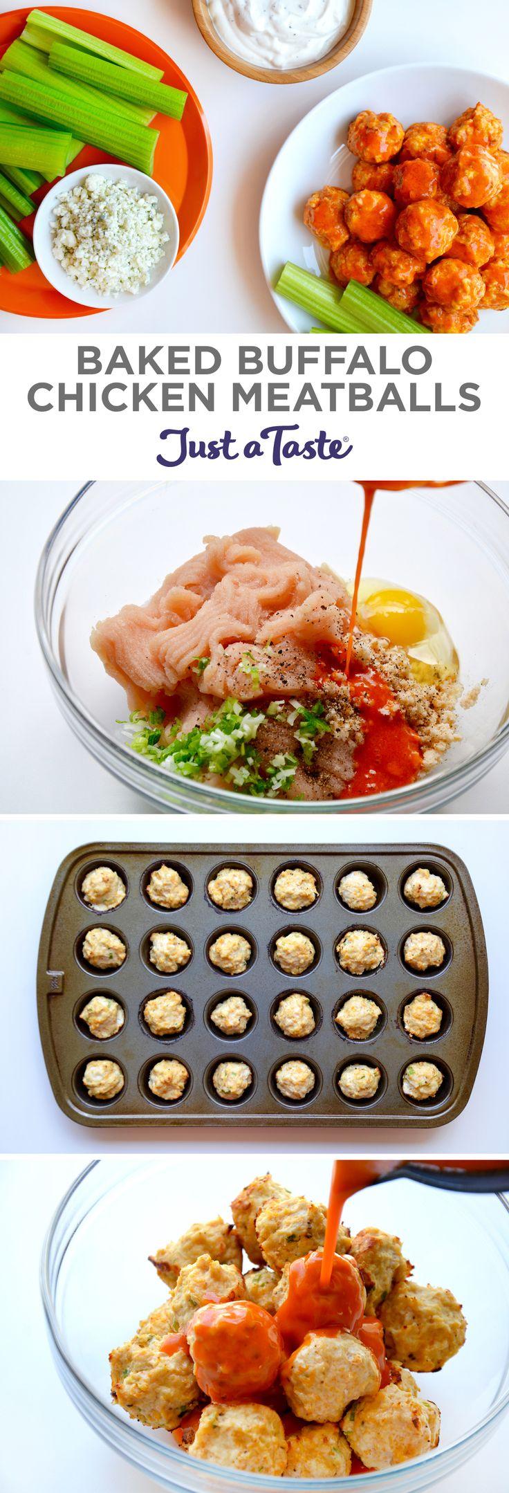 Baked Buffalo Chicken Meatballs   #recipe via justataste.com