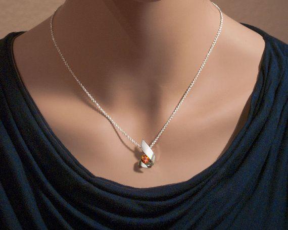 collar de Topacio místico colgante de plata plata Argentium
