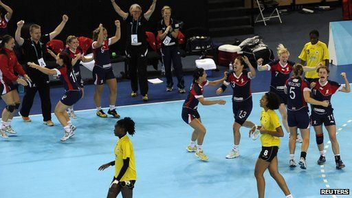 Great Britain's women enjoyed a thrilling victory over Angola in their first match at the Handball Arena in London's Olympic Park.