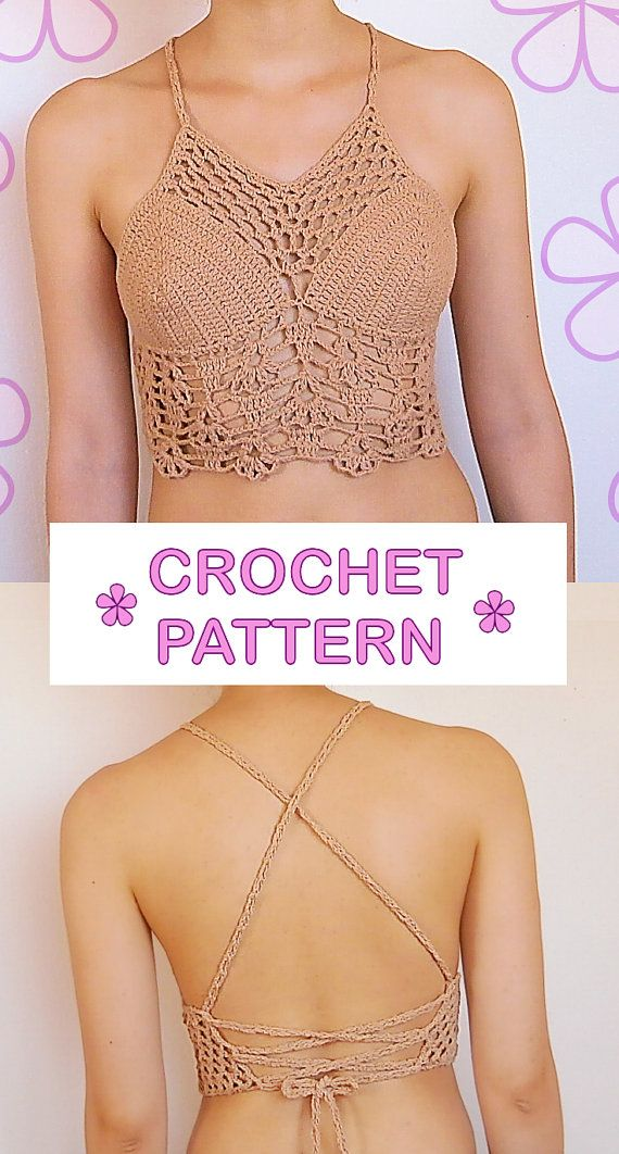 Gipsy crochet halter top pattern / boho by AkariCrochetPatterns