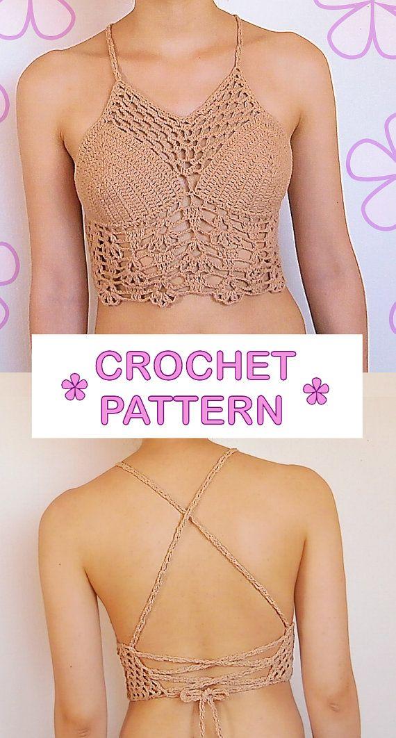 Patrón de crochet top corto con espalda abierta _ C32 por AKARImc
