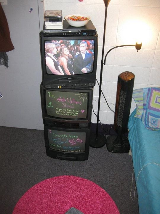 cool idea.(: recycling old tv for dry erase boards and bed side stand.