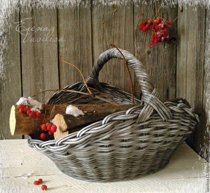 """Купить Корзина-дровница """"Зима в деревне"""" - большая корзина, дровница, плетеная, для дров, деревенская, Стильная"""
