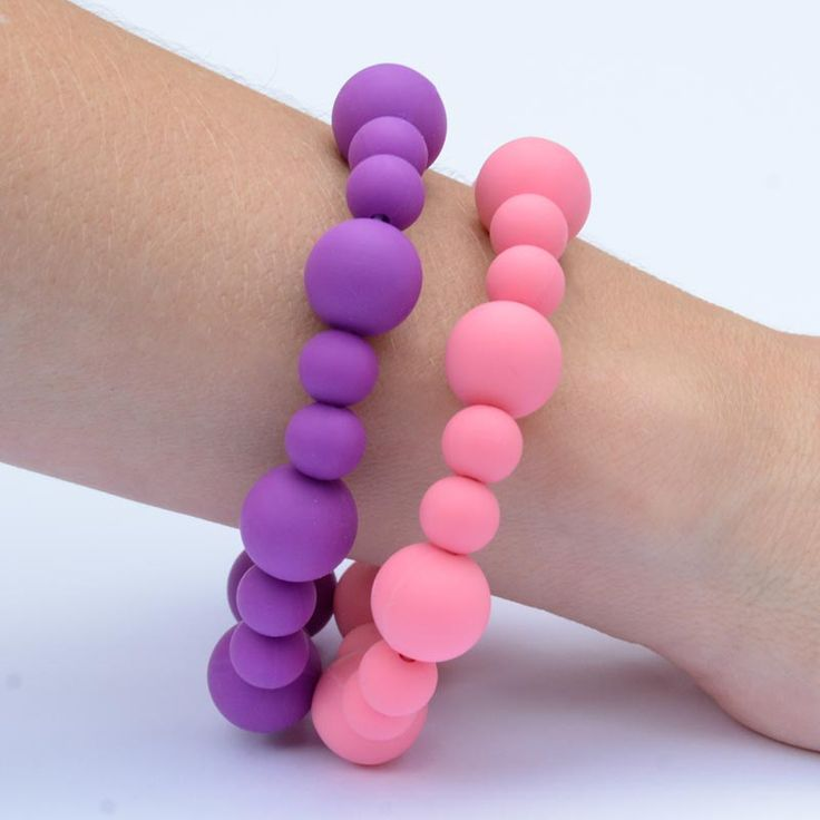 Our BubbleGum Duo teething bracelets. We think it's cute and lovely and any child would love the colour combination. They'll snatch it off you pretty quick.