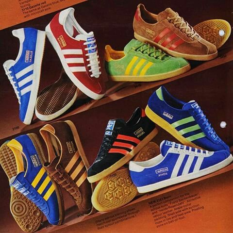 OMG! - Found this OG catalogue showing (clockwise from top left) Gazelles, T-Master, Trimm Star, Bern, Athen, Brussels, Amst and Stockholm - if I could only travel back in time...