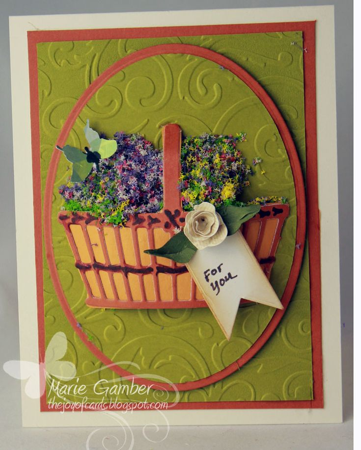 Card using the Marianne Designs - Daisy Basket die.  Made by Marie