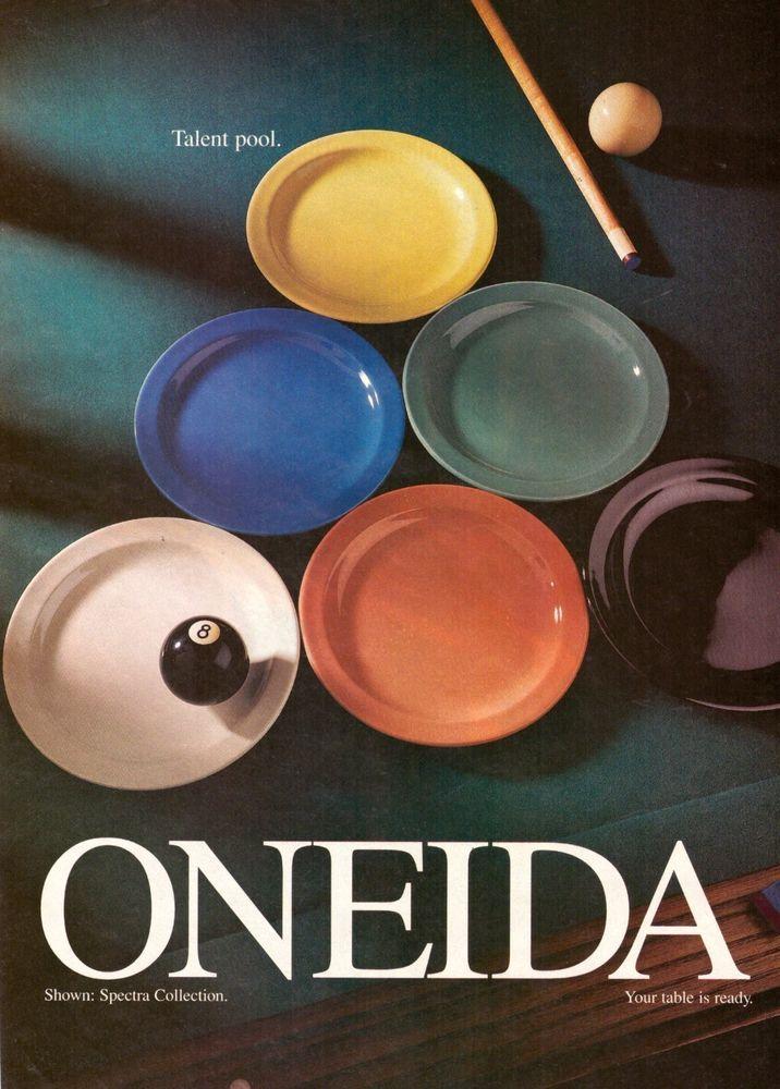 1998 Oneida China Dishes Pool Table Retro Vintage Advertisement VTG 90s   eBay